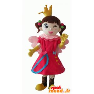 Liten jente maskot, prinsesse, fe - MASFR24081 - Fairy Maskoter