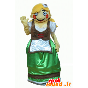 Mascotte de Tyrolienne en habit traditionnel d'Autriche