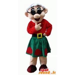 Maskotka starsza pani, ubrana na czerwono i zielono