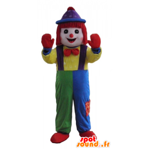 Mascot multicolored clown, all smiles