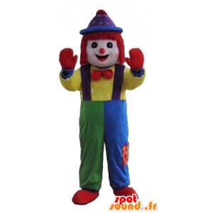 Maskot vícebarevné klauna, všechny úsměvy
