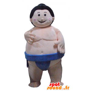 Mascot sumo, large Japanese wrestler, with a blue slip