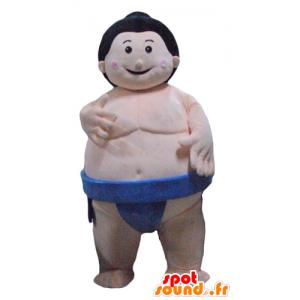 Mascotte sumo grote Japanse worstelaar met blauwe onderbroek