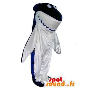 Mascotte de requin, bleu et blanc, géant