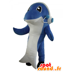 Dolphin mascot, blue and white shark