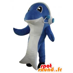 Dolphin maskot, blå og hvit hai