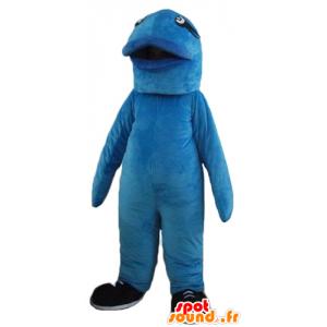 Mascot grote blauwe vissen, reus en origineel