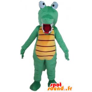 Coccodrillo verde mascotte e giallo, molto divertente e colorato - MASFR24100 - Mascotte di coccodrilli