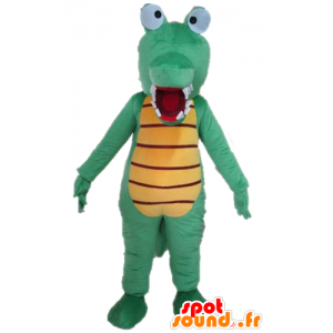 Green crocodile mascot and yellow, very funny and colorful - MASFR24100 - Mascot of crocodiles