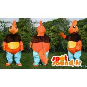 Mascotte de dinosaure orange, jaune, marron et bleu