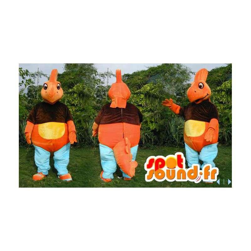 Orange dinosaur mascot, yellow, brown and blue - MASFR006611 - Mascots dinosaur