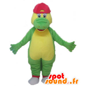 Green and yellow crocodile mascot with a red hat - MASFR24101 - Mascot of crocodiles