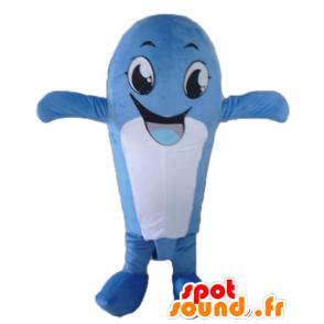 Mascotte de baleine bleue et blanche, fun et souriante - MASFR24102 - Mascottes de l'océan