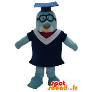 ガウンと学生帽が付いた青いイルカのマスコット-MASFR24103-イルカのマスコット