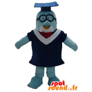 Blue Dolphin Maskottchen mit einer Toga und Schüler Hut