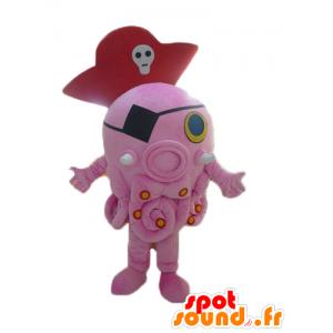 Mascot polvo rosa, gigante, com um chapéu de pirata