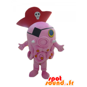 Mascotte de pieuvre rose, géante, avec un chapeau de pirate