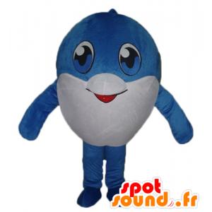 Mascotte de gros poisson bleu et blanc, très mignon