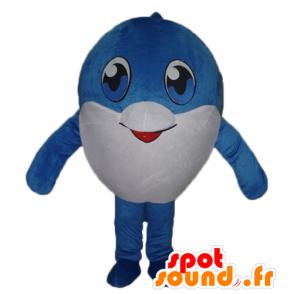 Mascotte großen blauen und weißen Fisch, sehr nett - MASFR24105 - Maskottchen-Fisch