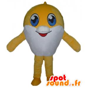 Mascotte de gros poisson jaune et blanc, très mignon