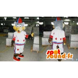 Maskotti karhu, harmaa ja beige mekko näyttää - MASFR006613 - Bear Mascot