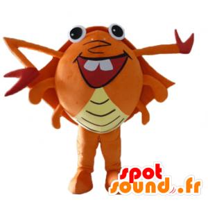 Mascotte de crabe orange, rouge et jaune, géant, très rigolo