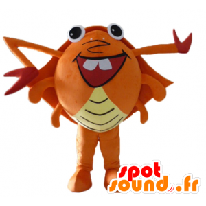 Oransje krabbe maskot, rødt og gult, gigantiske, veldig morsomt