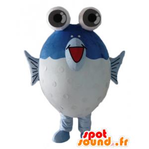 Mascotte de gros poisson bleu et blanc, avec de grands yeux