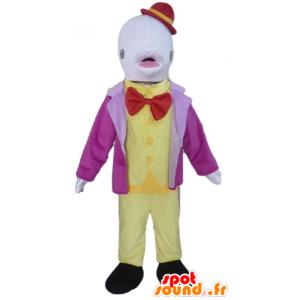 Witte dolfijn mascotte kostuum met een hoed