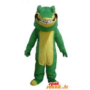 Verde e giallo coccodrillo mascotte, realistico e intimidatorio - MASFR24111 - Mascotte di coccodrilli