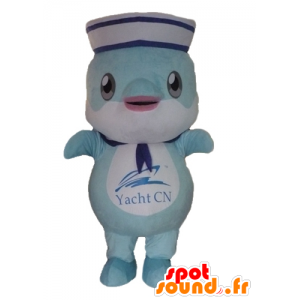 Mascot fish, blue dolphin dressed in sailor