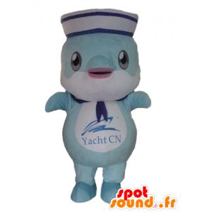 Maskotka ryba, niebieski delfin ubrany w marynarski