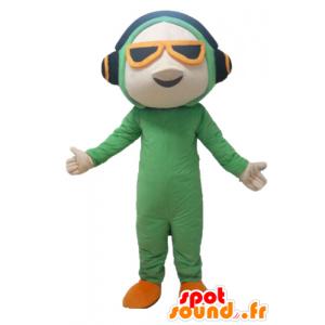Maskottchen-Mann in der grünen Klage, mit Kopfhörern - MASFR24116 - Menschliche Maskottchen