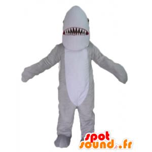 Mascotte de requin gris et blanc, réaliste et impressionnant
