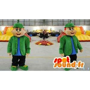Mascot man with a green coat and a bob - MASFR006616 - Human mascots