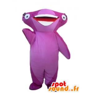 Mascotte de requin marteau rose, très souriant