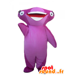 Pink mascot hammerhead shark, cheerful - MASFR24119 - Mascots shark