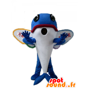 Mascotte de poisson volant, de dauphin bleu, avec des ailes
