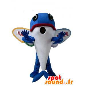 Vliegende vissen mascotte, blauwe dolfijn met vleugels