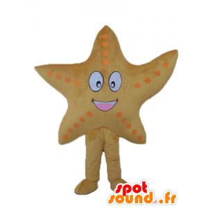 Mascotte d'étoile de mer jaune, géante et souriante