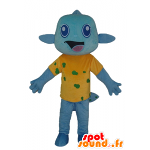 Sininen kala maskotti, jossa on keltainen paita, erittäin hymyilevä