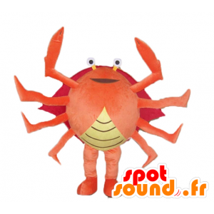 Crab mascot orange, red and yellow giant very successful