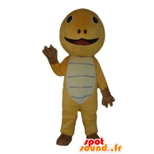 Mascotte de tortue jaune, marron et beige, très mignonne