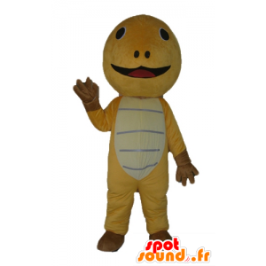 Yellow turtle mascot, brown and beige, very cute