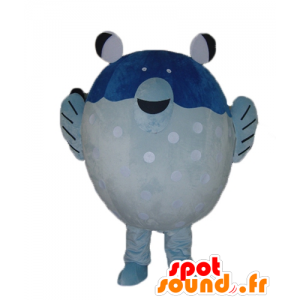 Engros Mascot blå og hvit fisk, gigantiske