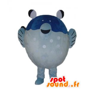 Mascotte de gros poisson bleu et blanc, géant