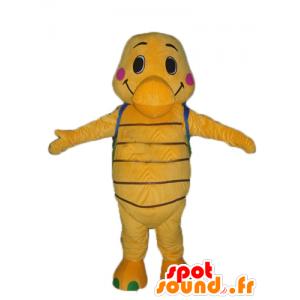 La mascota de naranja y la tortuga verde con una mochila azul