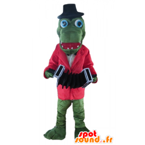πράσινο μασκότ κροκοδείλων με ένα κόκκινο σακάκι και ένα ακορντεόν