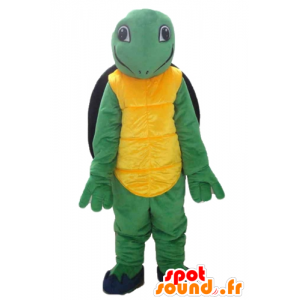 Mascot geel groen en zwart schildpad, vriendelijk en glimlachend