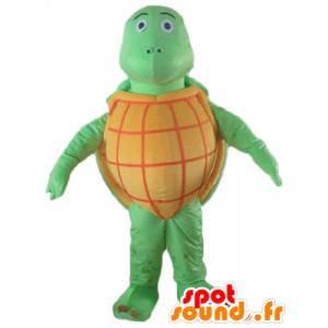 Mascotte de tortue orange et verte, toute ronde, très réussie